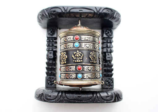 8 Auspicious Symbol Tibetan Copper Prayer Wheel Wall Hanging with Wooden Frame - nepacrafts