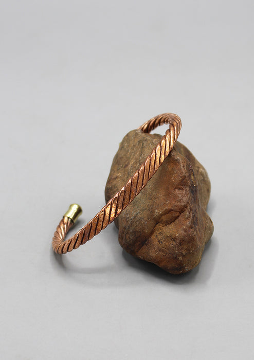 Adjustable Twisted Copper Meditation Bracelet