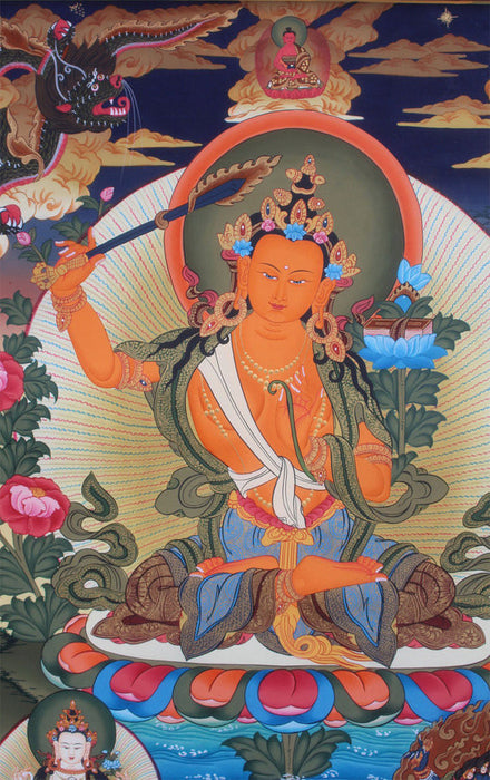 Manjushree Buddhist Thangka 71X50cm - nepacrafts