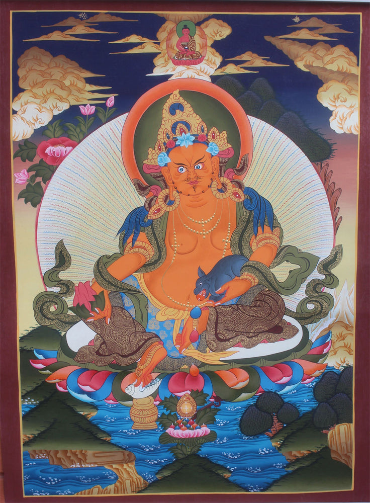 Thangka of Zambala with Amitabha Buddha 71X50cm