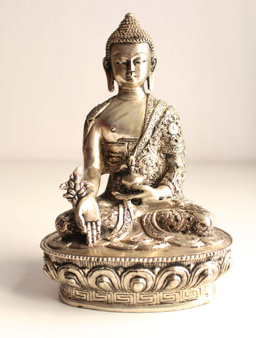 "Fully Silver Plated 8"" Healing Buddha Statue with extensive Floral Carving - nepacrafts - 1"