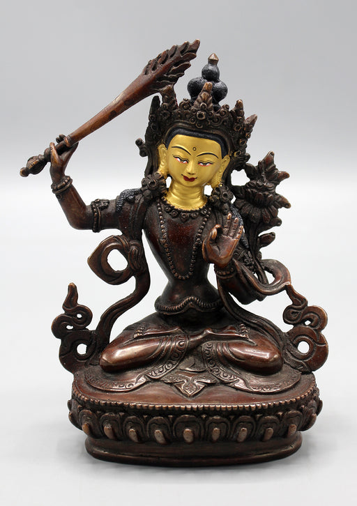 Partly Gold Plated Copper Manjushri Statue