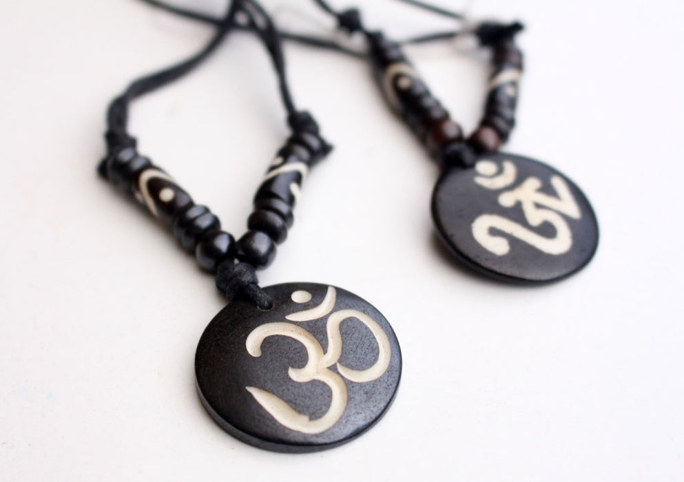 Religious Hindu OM Carved Pendants in an adjustable Thread - nepacrafts