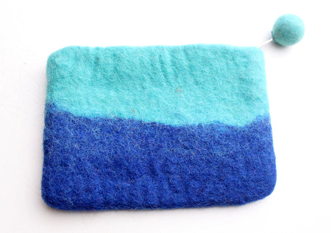 Beautiful Torquoise and Blue Stripes Felt Zipper Coin Purse