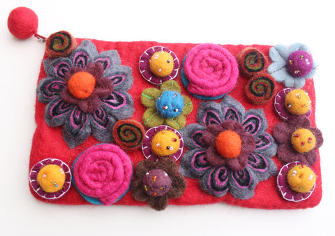 Colorful Flower Beaded Red Felt Clutch Purse