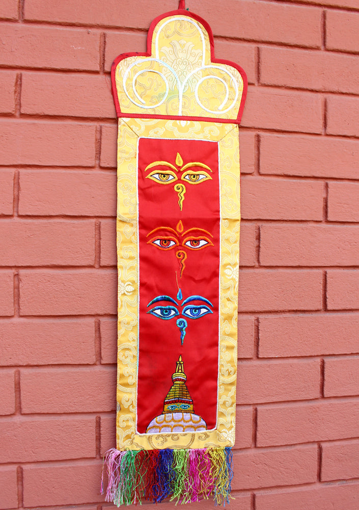 Buddha's Wisdom Eyes Embroidered Tibetan Wall Hanging Banner - nepacrafts