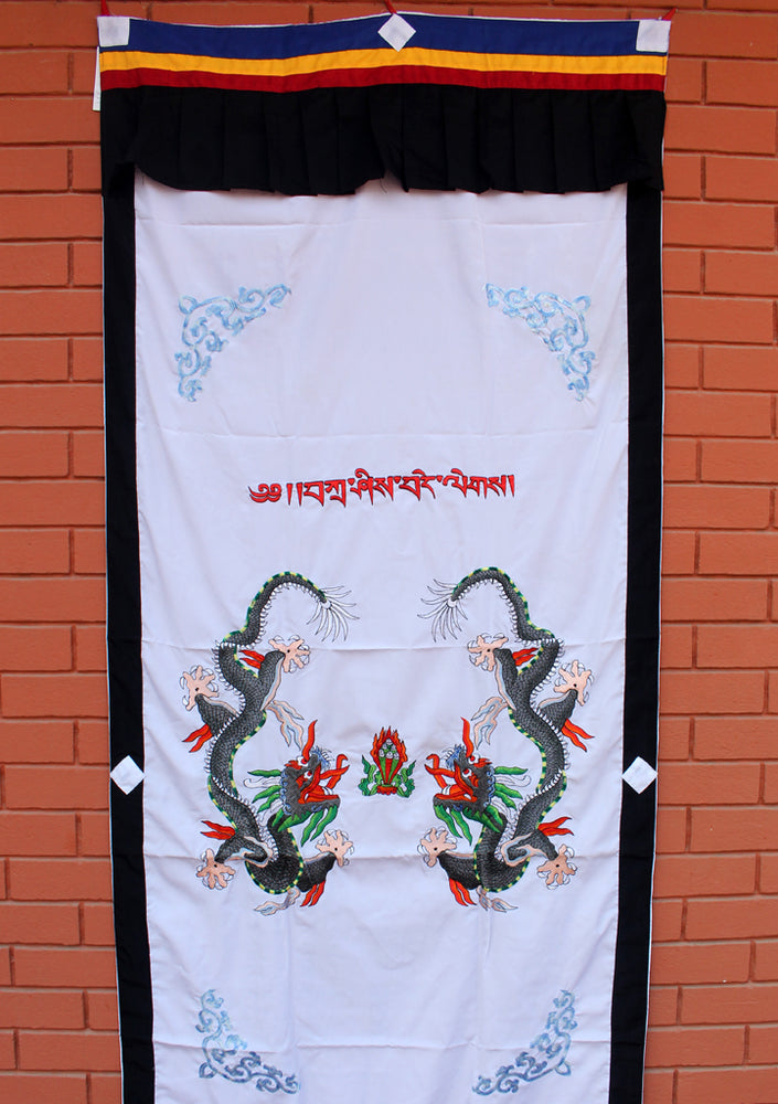 Dragon Embroidered White Cotton Door Curtain - nepacrafts
