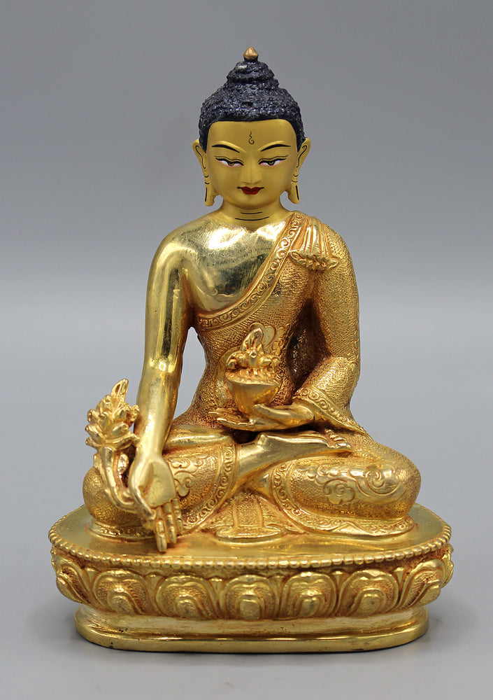 Healing Medicine Buddha Fully Gold Plated Statue