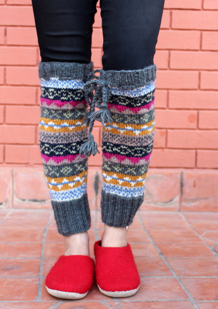 Grey Pink Multicolor Winter Legwarmers with Knitted Lace - nepacrafts