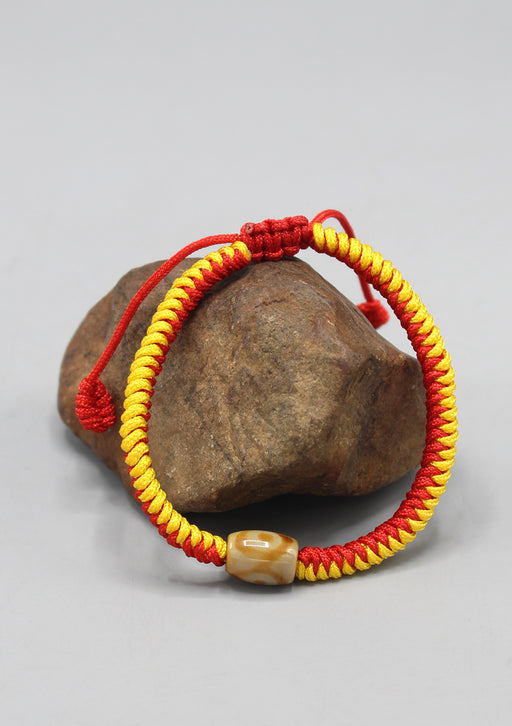 Tibetan Colorful Thick Lucky Knot Bracelet with Dzi Beads