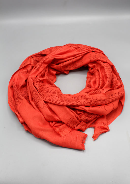 Orange Om Prayer Shawl, Cotton Yoga Shawl Meditation Shawl