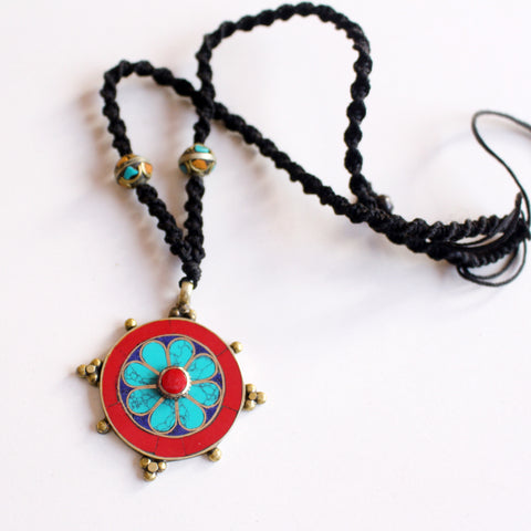 Tibetan White Metal Inlaid Flower Pendant