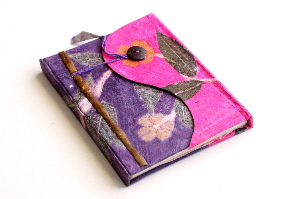 Real Leaves Printed Pink Color Lokta Paper Journal Book - nepacrafts