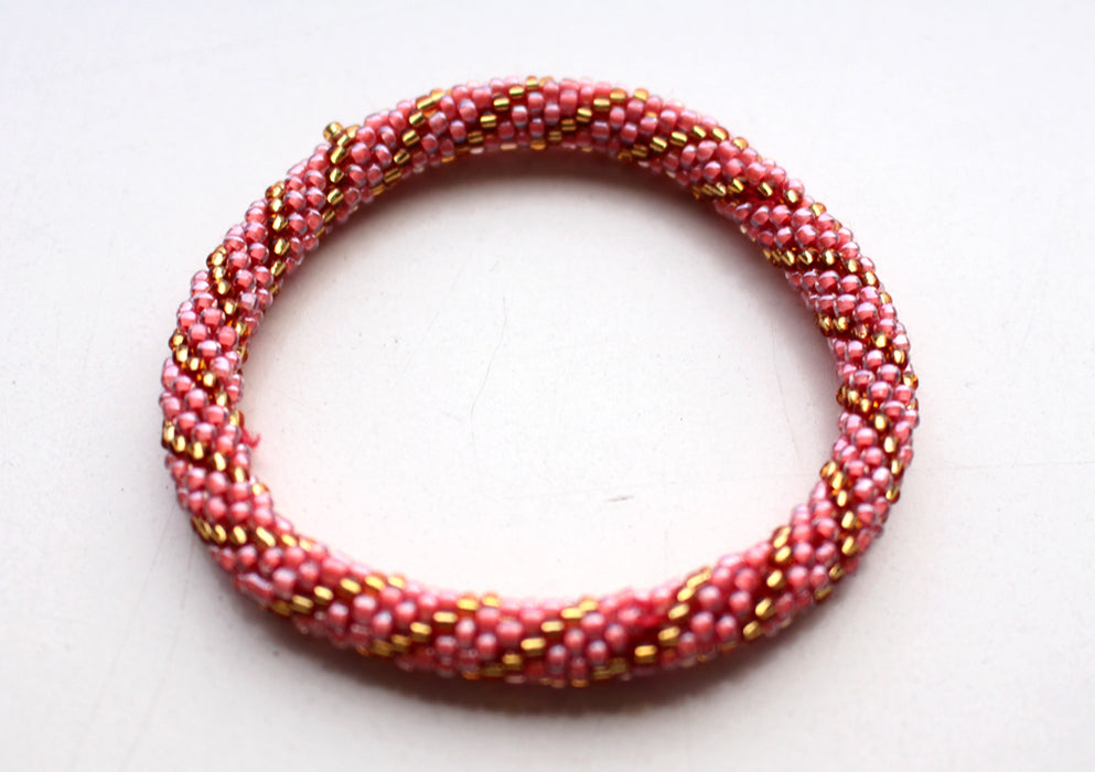 Dark Peach Gold Beads Crocheted Roll On Bracelet RB036A - nepacrafts