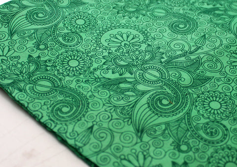 Flower Printed Green Handmade Gift Wrapping Lokta Paper Sheets - NepaCrafts