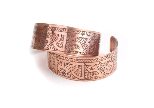 Om Copper Yoga Bracelet for Positive Energy - nepacrafts