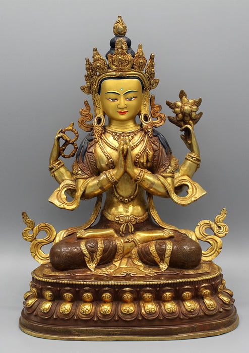 "Gold Plated Masterpiece Chenrezig Statue 13"" with Intricate Floral Motifs - nepacrafts"