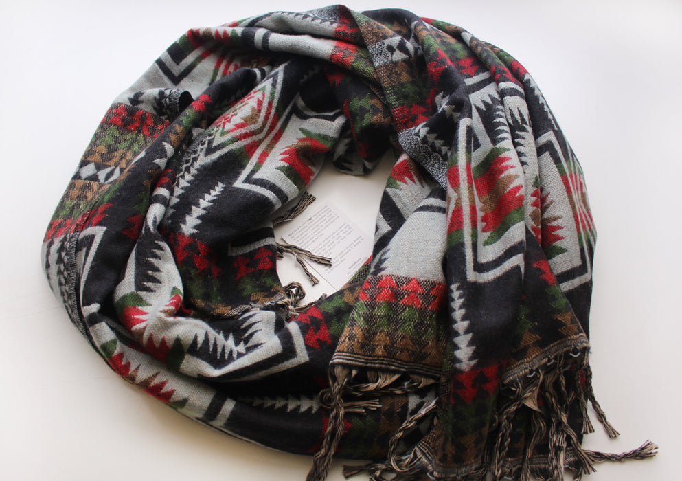 Himalayan Yak Wool Shawl in Black, Red and Green Check Pattern From Nepal - nepacrafts