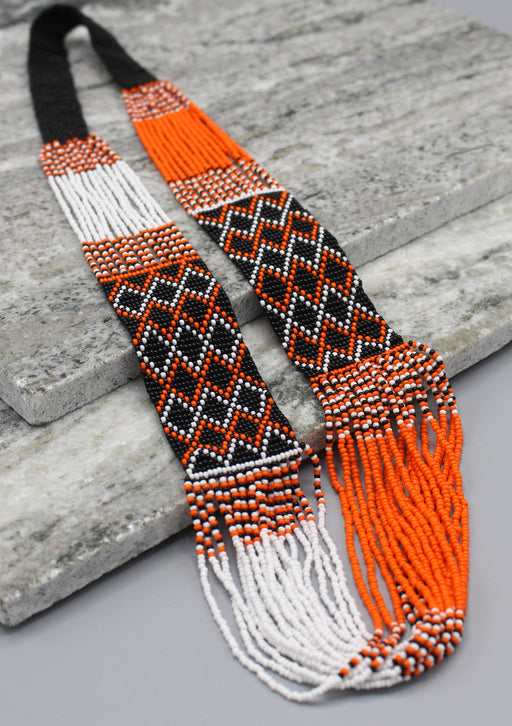 Orange and Black Multi Color Glass Beads Necklace - nepacrafts