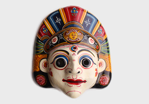 Hand Painted Nepalese Bhairav Paper Mache Wall Hanging Mask