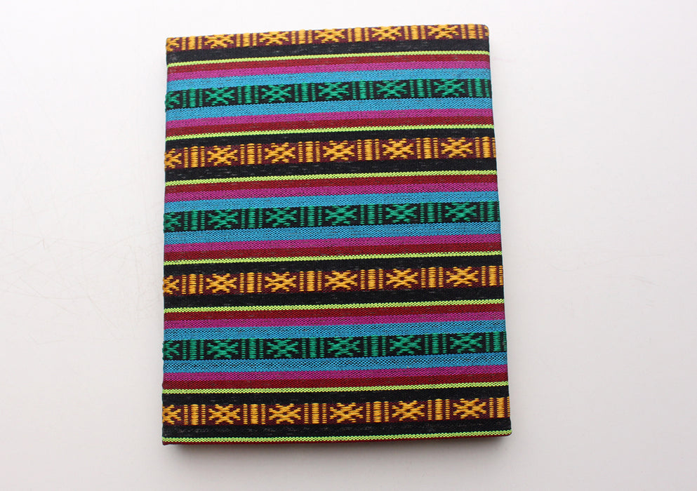 Multicolor Bhutanese Fabric Hard Cover Lokta Paper Travel Journal Book - nepacrafts