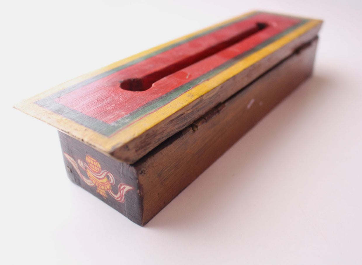 Hand Painted Medium Sized Brown Wooden Incense Burner Box