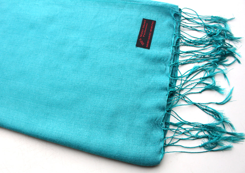 Adriatic Blue Color Water Pashmina Shawl - nepacrafts