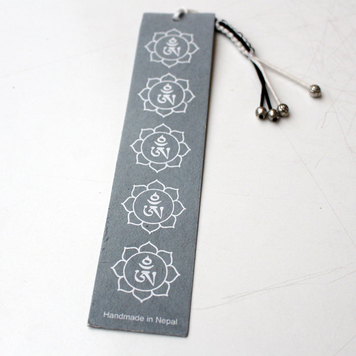 Gray Tibetan Om Lokta Paper Bookmark with Charm Tassel - nepacrafts