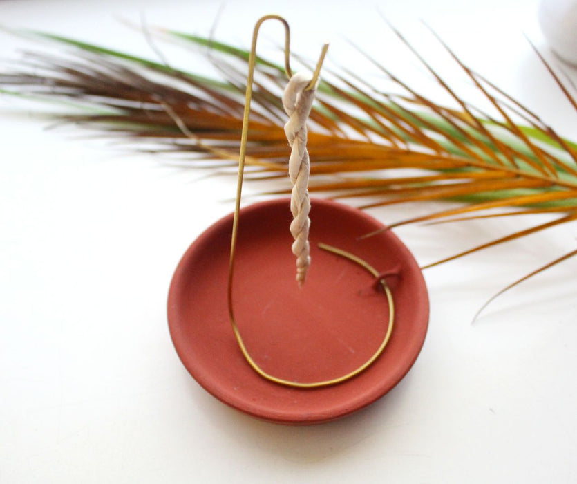 Ceramic Base Plate and Brass Stand Rope Incense Burner - nepacrafts