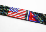 Assorted American & Nepalese Flag Friendship Glass Beads Bracelet, Unisex Bracelet