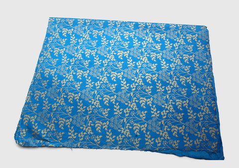 Beautiful Blue Color Golden Flower Printed Lokta Paper Gift Wrapping Sheets - NepaCrafts
