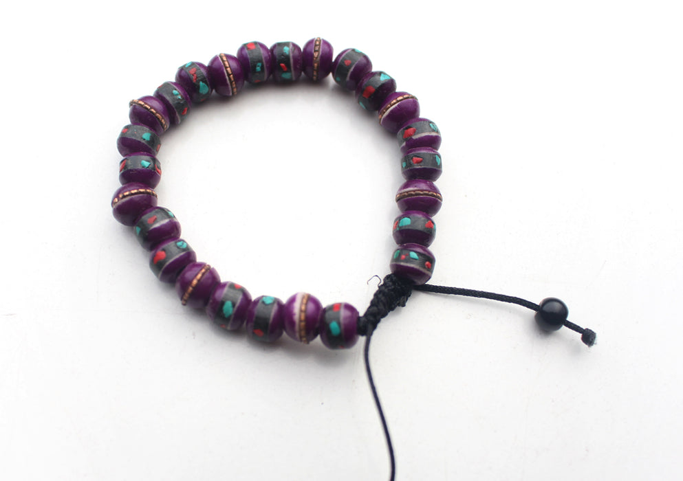 Bone Inlaid Purple Wrist Yoga Bracelet - nepacrafts