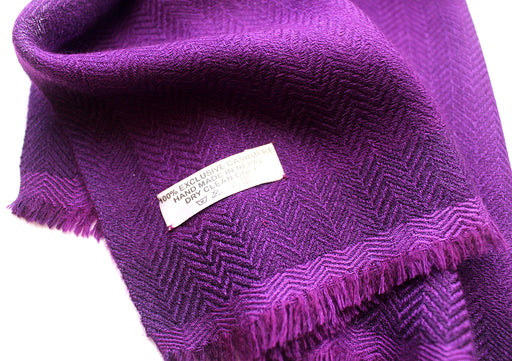 100 % Exclusive Purple Cashmere Shawl with Border Herringbone Pattern - nepacrafts