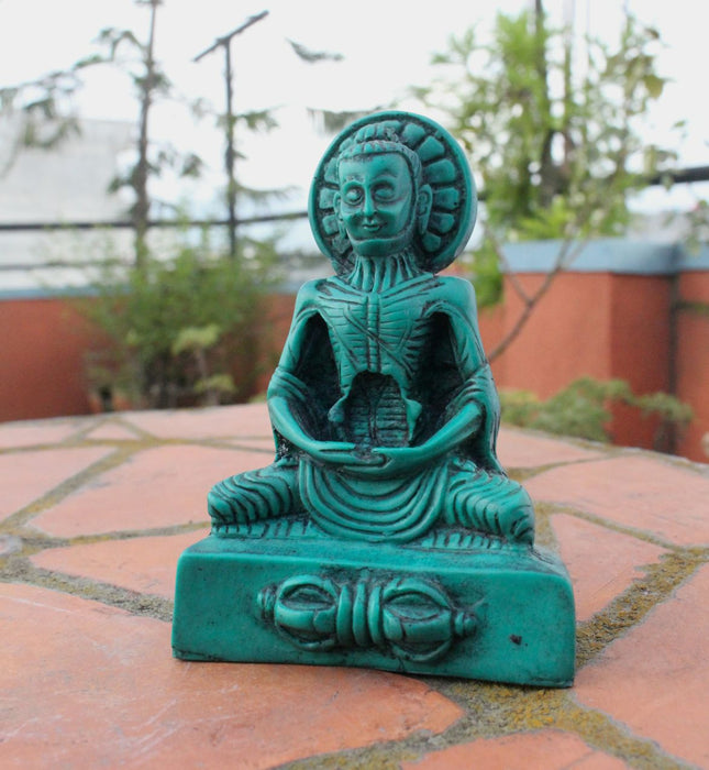Green Turquoise Toned Emaciated Meditating Buddha Resin Statue RST014GR - nepacrafts