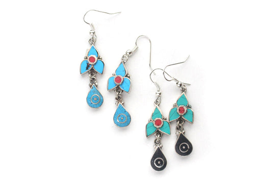 Turquoise and Coral Inlaid Flower Drop White Metal Earrings - nepacrafts