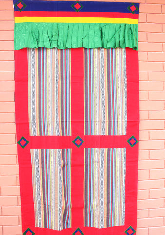 Handmade Thick Multicolor Bhutanese Woven Fabric Cotton Door Curtain