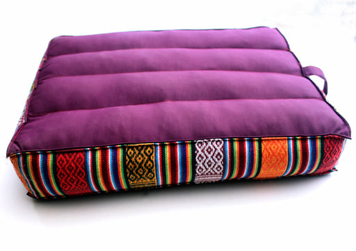 Cotton Meditation Cushion with Border - nepacrafts
