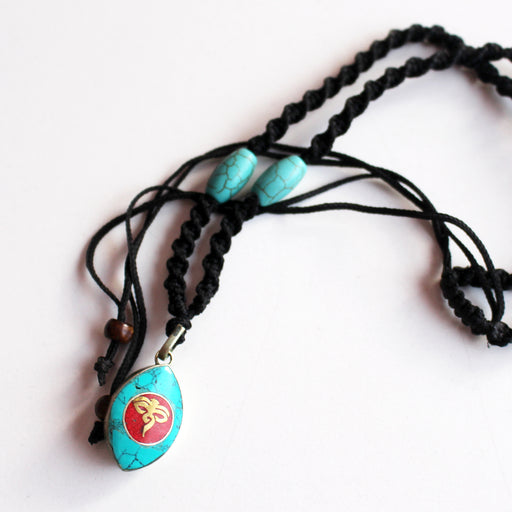 Turquoise and Coral Inlaid Buddha Eye Pendant Necklace - nepacrafts