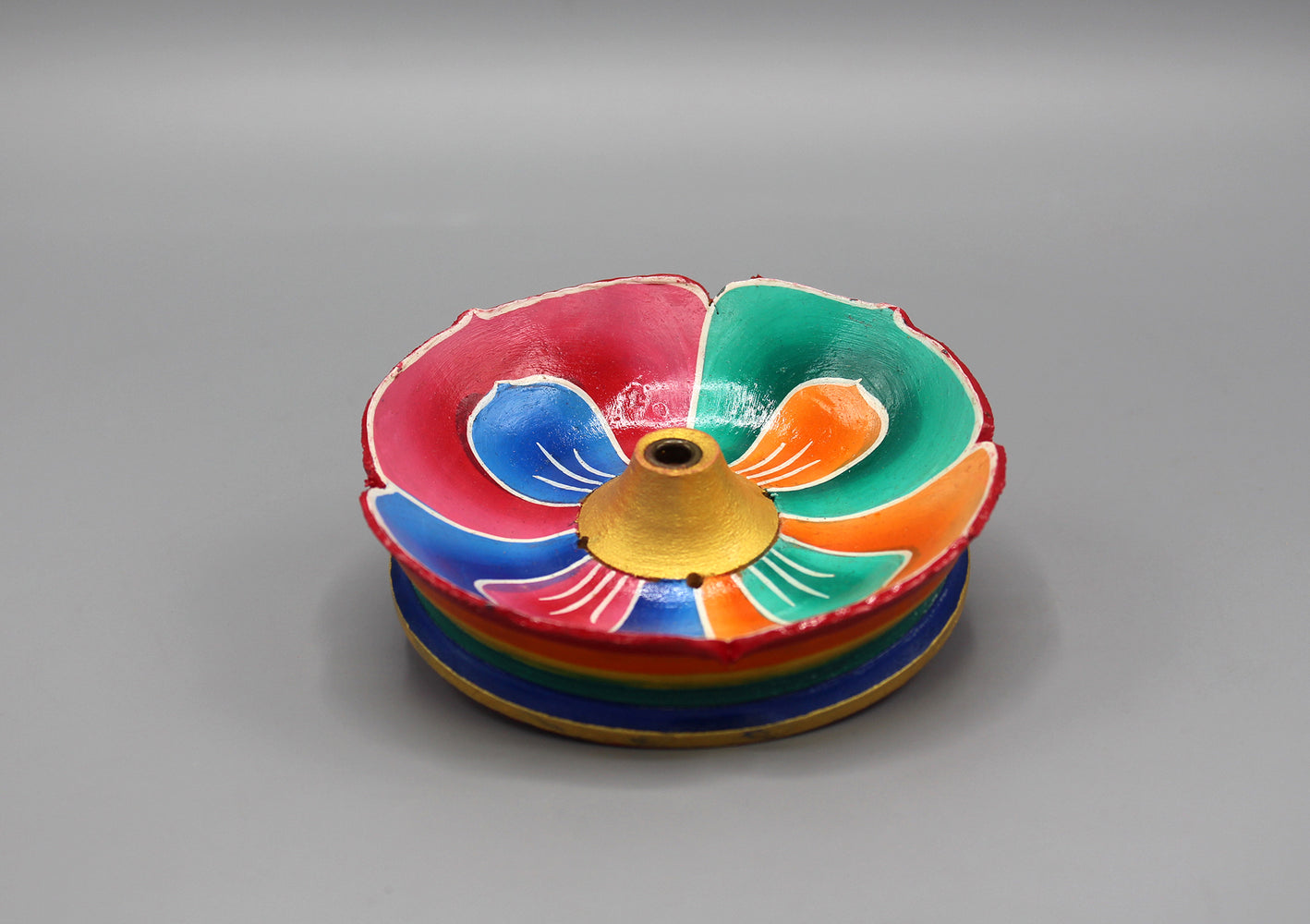 Handpainted Lotus Wooden Incense Burner - nepacrafts