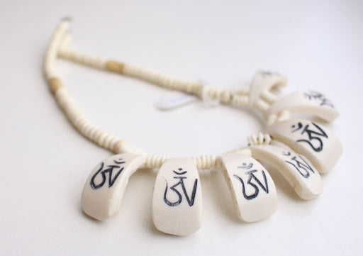 Tibetan Om Carved White Bone Necklace - nepacrafts