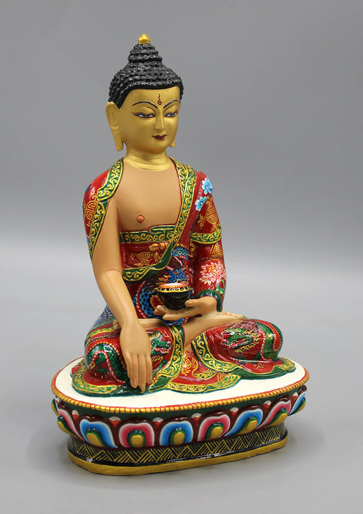 Dragon Painted Gold Plated Shakyamuni Buddha Statue