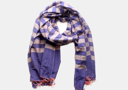 100% Reversible Gray Striped Blue Color Water Pashmina Shawl - nepacrafts