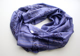 Blue Cotton Meditation Scarf with Elephant Print, Jari Shawl/Scarf - NepaCrafts