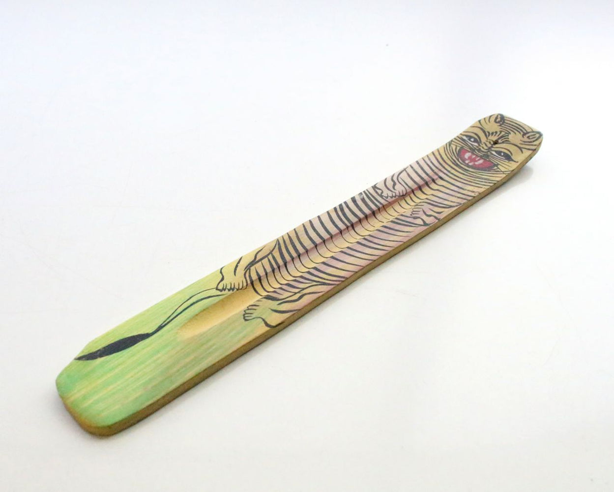 Tiger Painted Long Wooden Incense Burner - nepacrafts