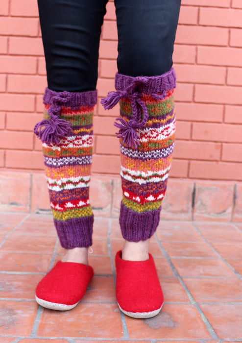Multicolor Hand Knitted Purple Border Winter Legwarmers - nepacrafts