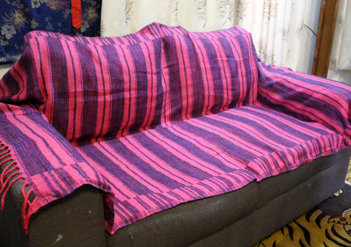 Pink with Purple and Blue Lining Himalayan Yak Wool Blanket Shawl