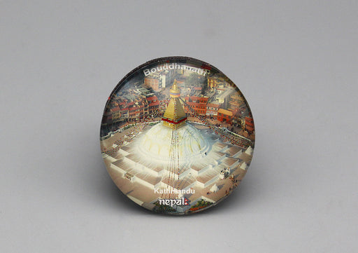Bouddhanath Nepal Glass Fridge Magnet - nepacrafts