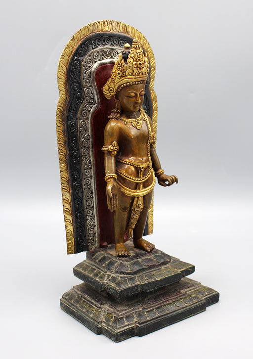 Gold Plated Copper Oxidized Lokeshwor Statue on Wooden Frame and Base