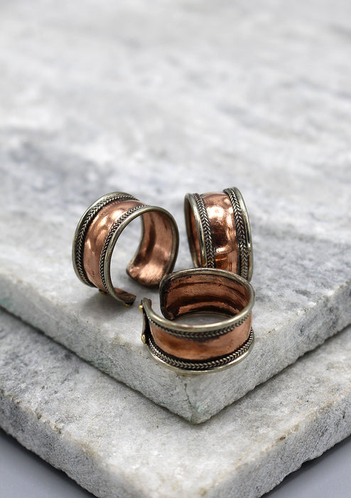 Copper Plain Finger Ring with Border