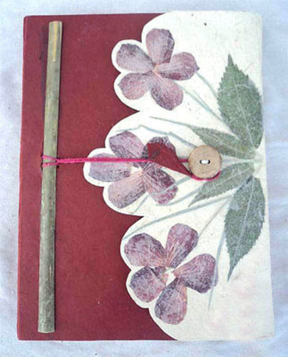 Leaf Design Lokta Paper Journal Books, Natural Blank Diaries - nepacrafts